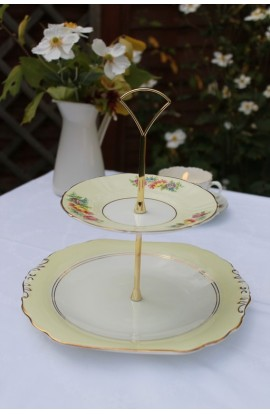 Pretty Yellow Vintage Cake Stand