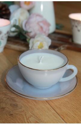 Soft Blue Glass Vintage Teacup Candle